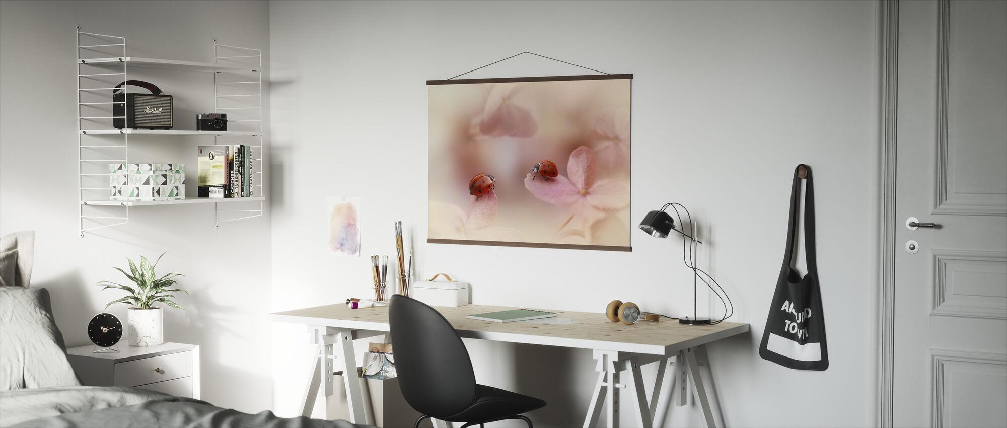 Ladybirds on Pink Hydrangea - Poster - Office