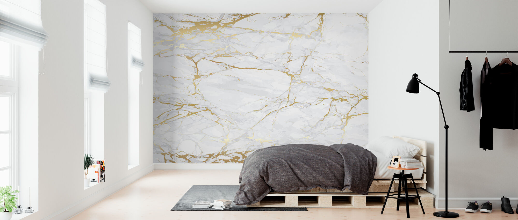 Marble with golden veins - Wallpaper - Bedroom