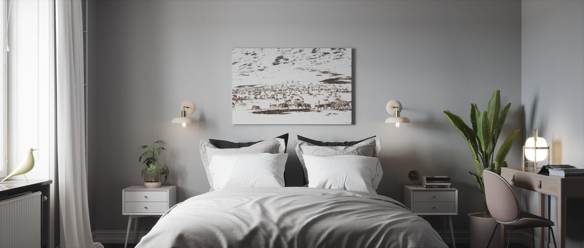 Reindeers in Winter Landscape - Canvas print - Bedroom