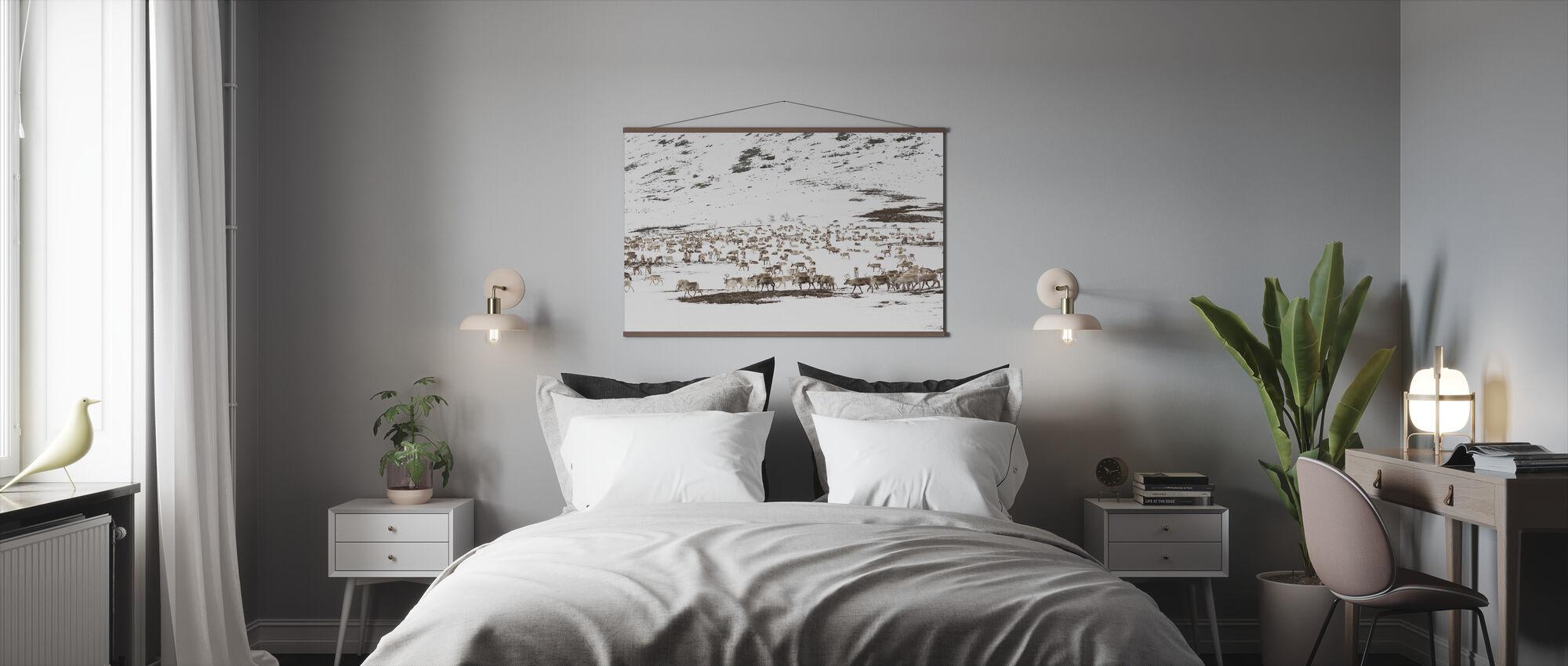 Reindeers in Winter Landscape - Poster - Bedroom