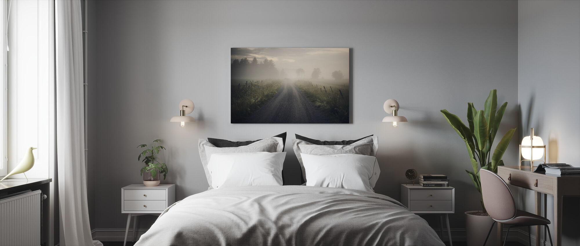 Misty Rural Road - Canvas print - Bedroom