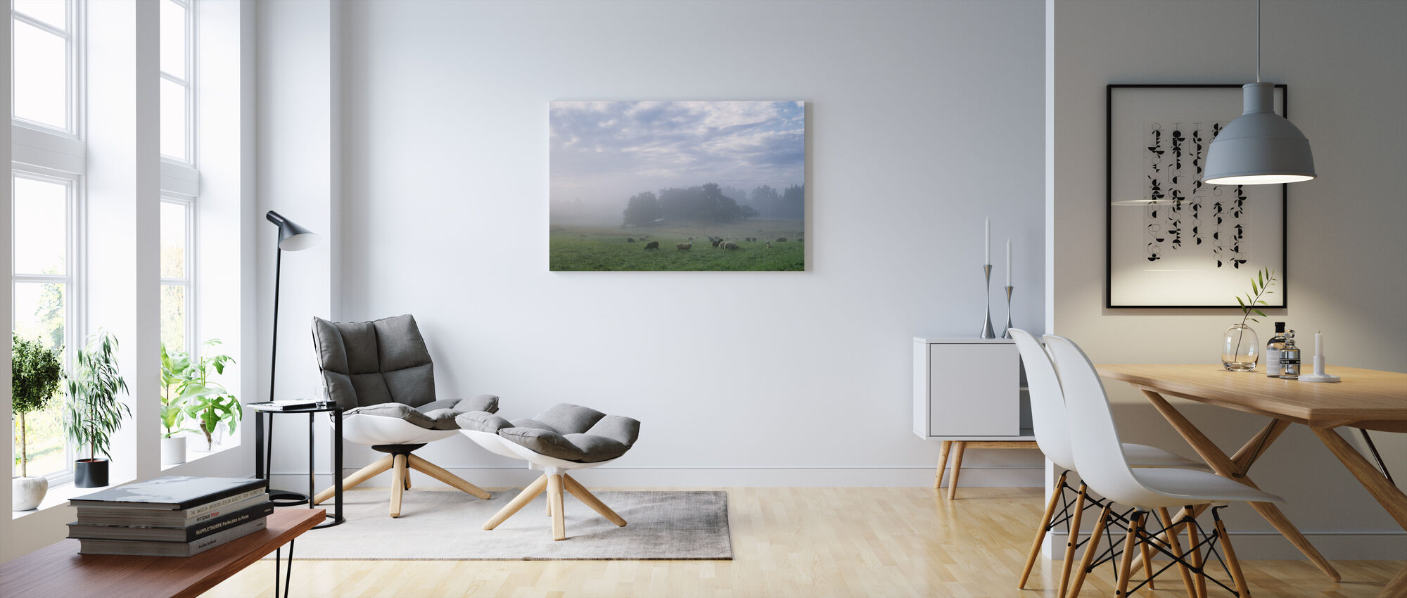 Sheep on Pasture Field in Morning Fog - Canvas print - Living Room