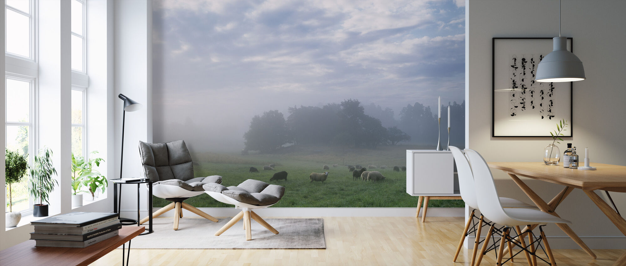 Sheep on Pasture Field in Morning Fog - Wallpaper - Living Room