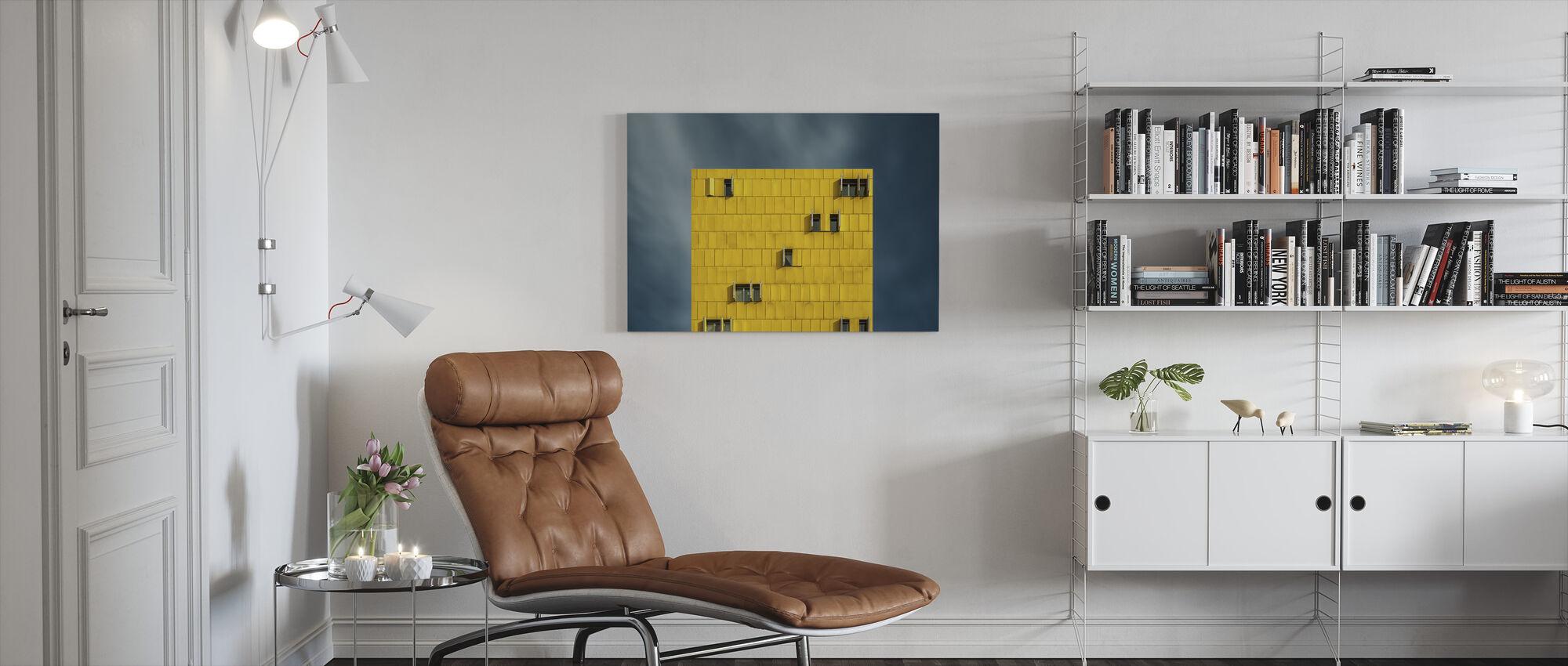 Geel en Blauw - Canvas print - Woonkamer