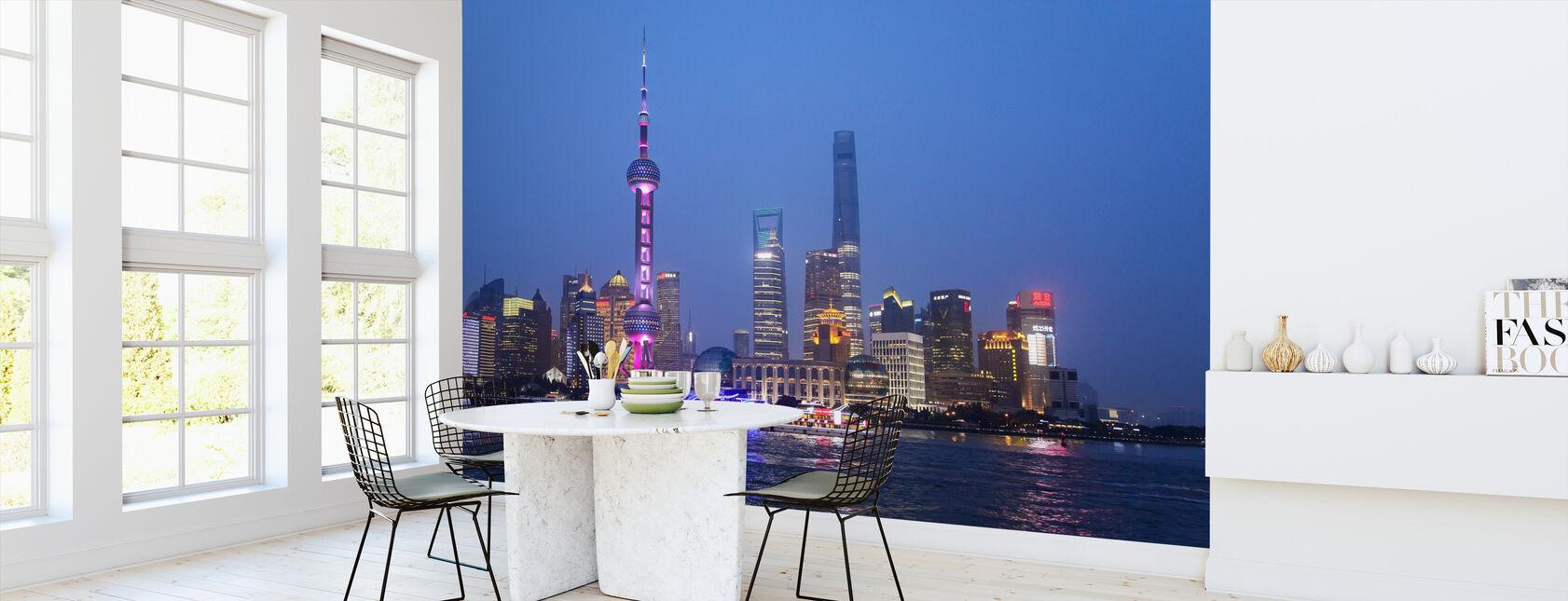 Nattutsikt över Shanghai City - Tapet - Kök