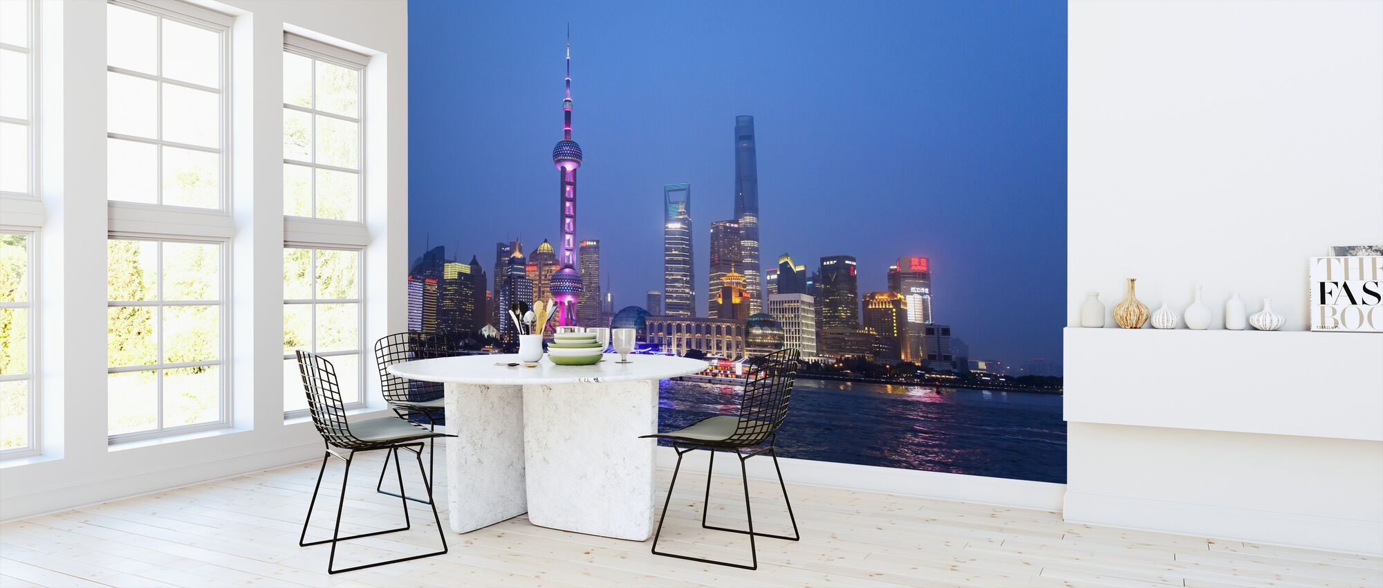 Night View of Shanghai City - Wallpaper - Kitchen