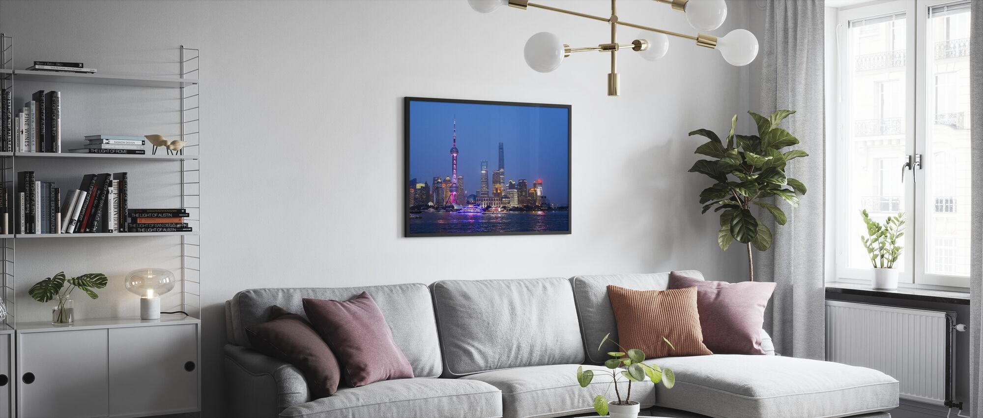Night View of Shanghai City - Framed print - Living Room