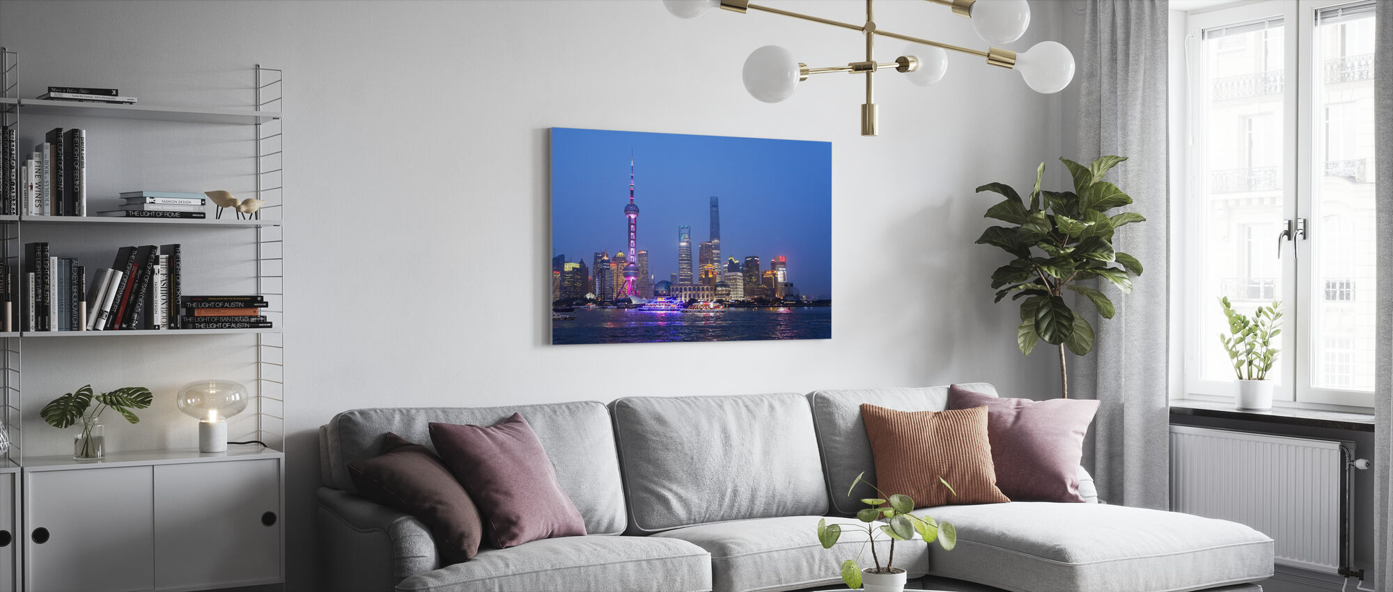 Night View of Shanghai City - Canvas print - Living Room