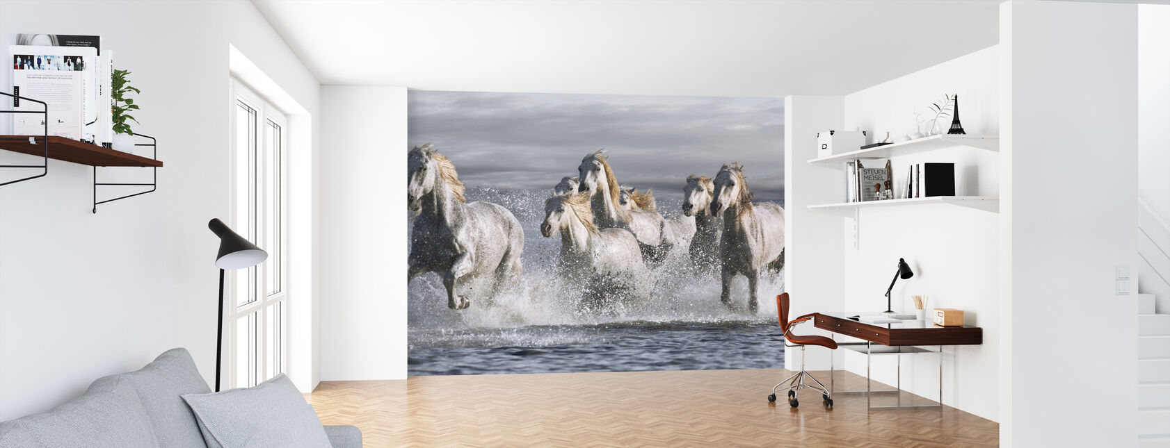 Horses Running at the Beach - Wallpaper - Office