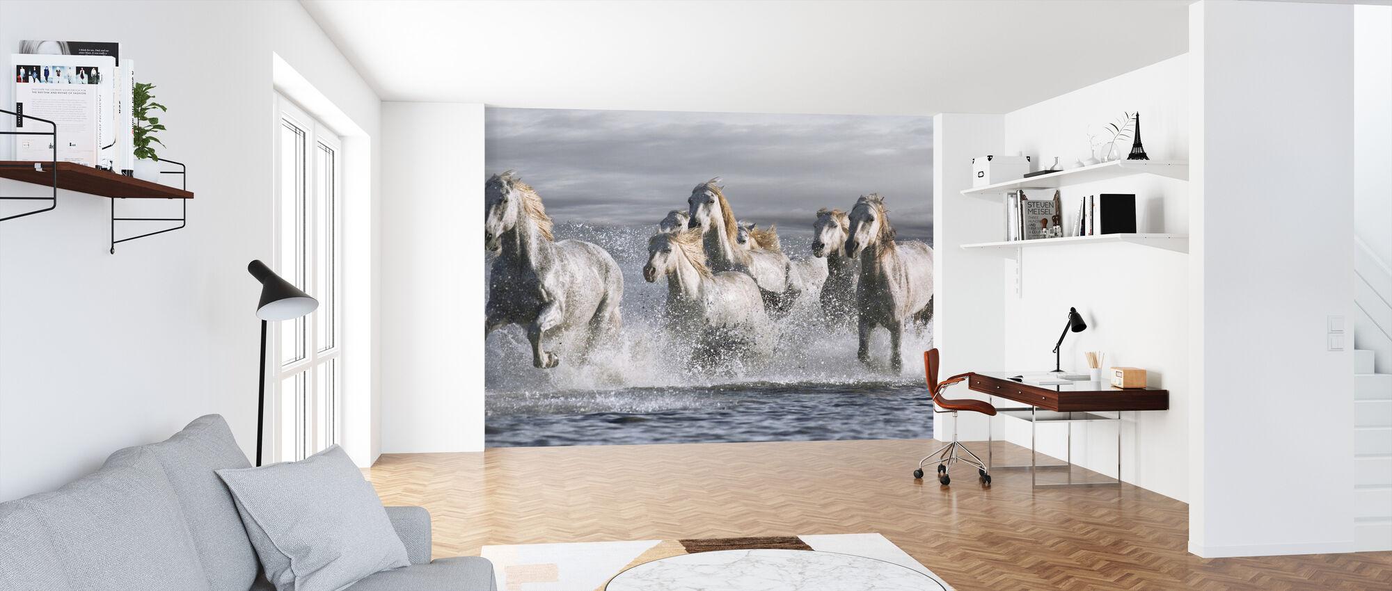 Hevoset Juoksu rannalla - Tapetti - Toimisto