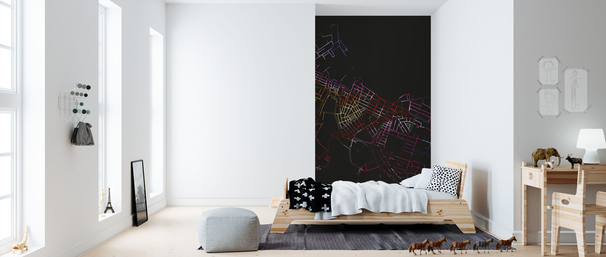 Reykjavik in Iceland - Map - Wallpaper - Kids Room
