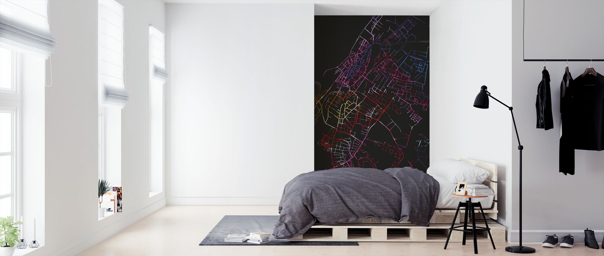 Visby in Sweden - Map - Wallpaper - Bedroom