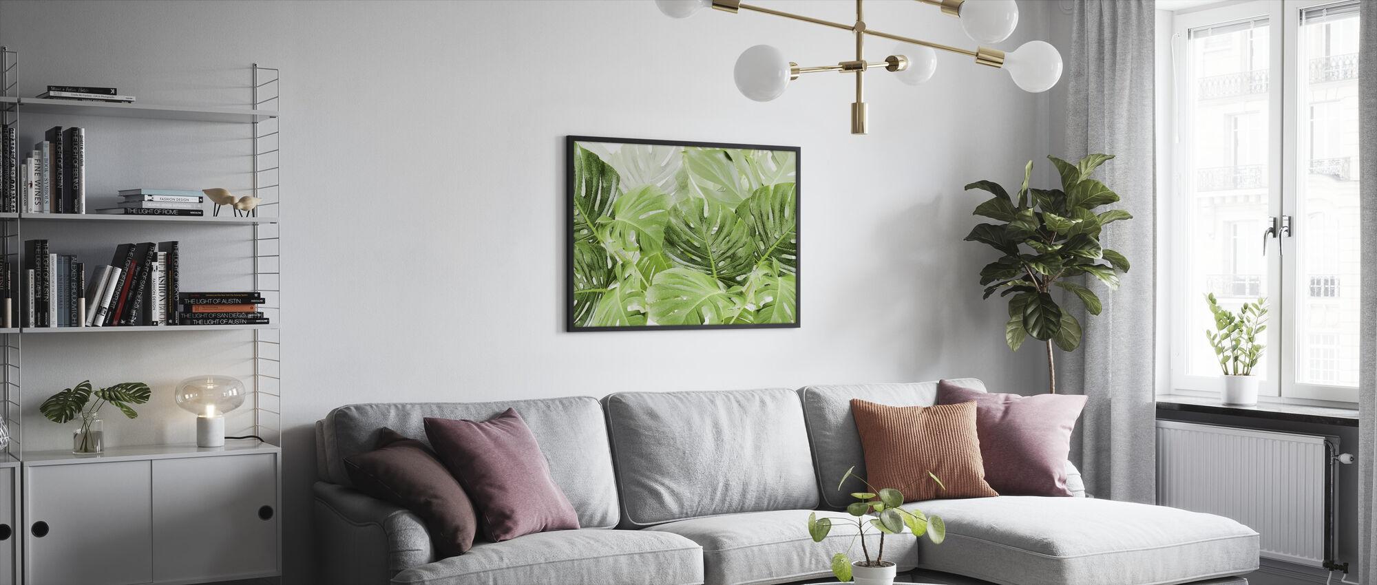 Groene Bladeren Monstera - Ingelijste print - Woonkamer