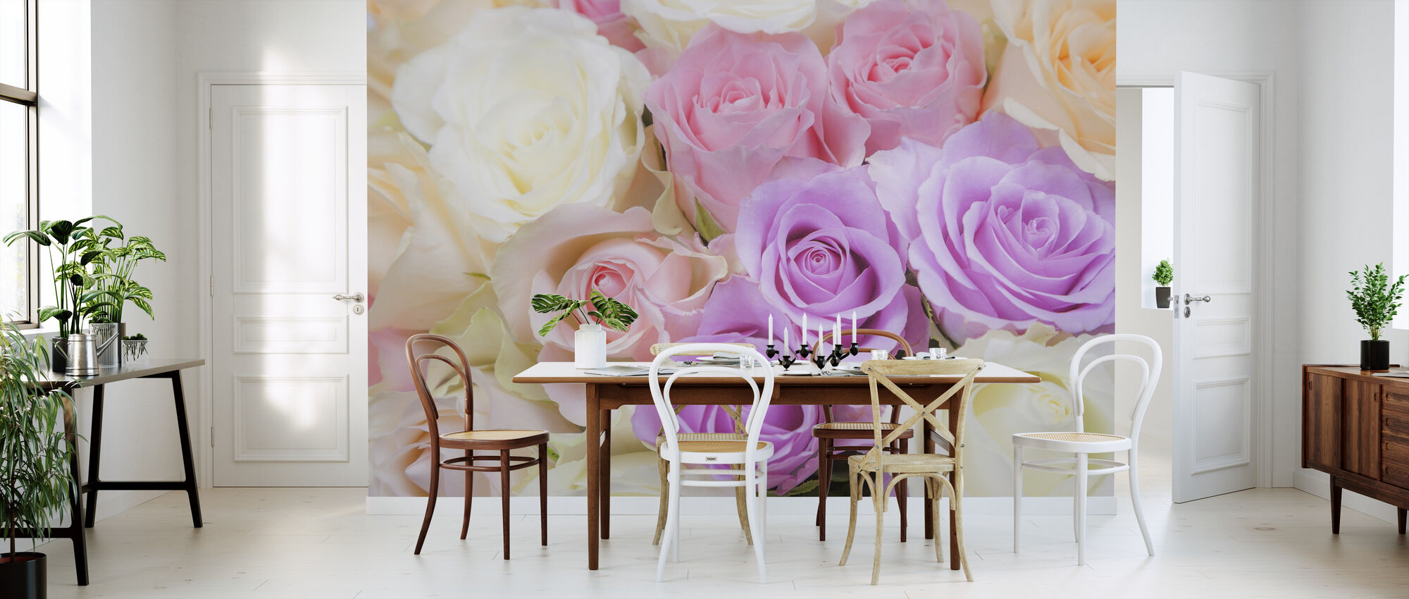 Farverige roser - Tapet - Køkken
