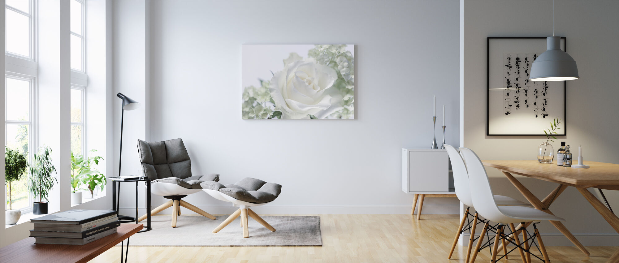 Whtie Rose II - Canvas print - Living Room
