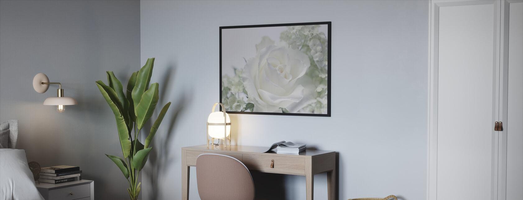 Whtie Rose II - Framed print - Bedroom