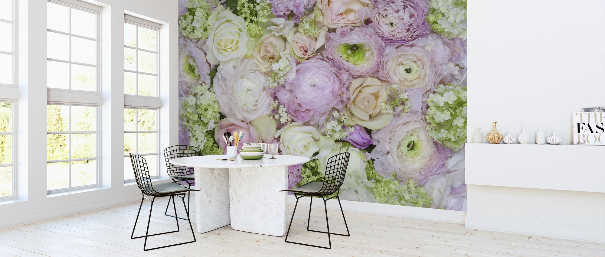 Rosas de jardín - Papel pintado - Cocina