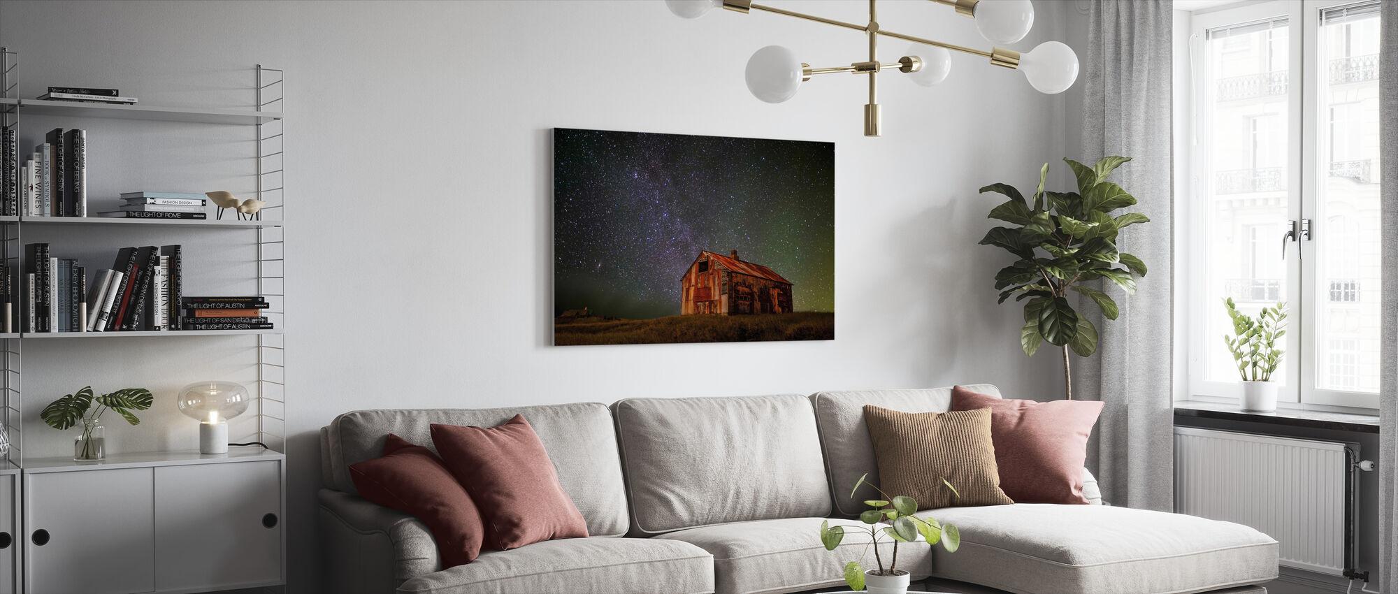 Rymd hus - Canvastavla - Vardagsrum