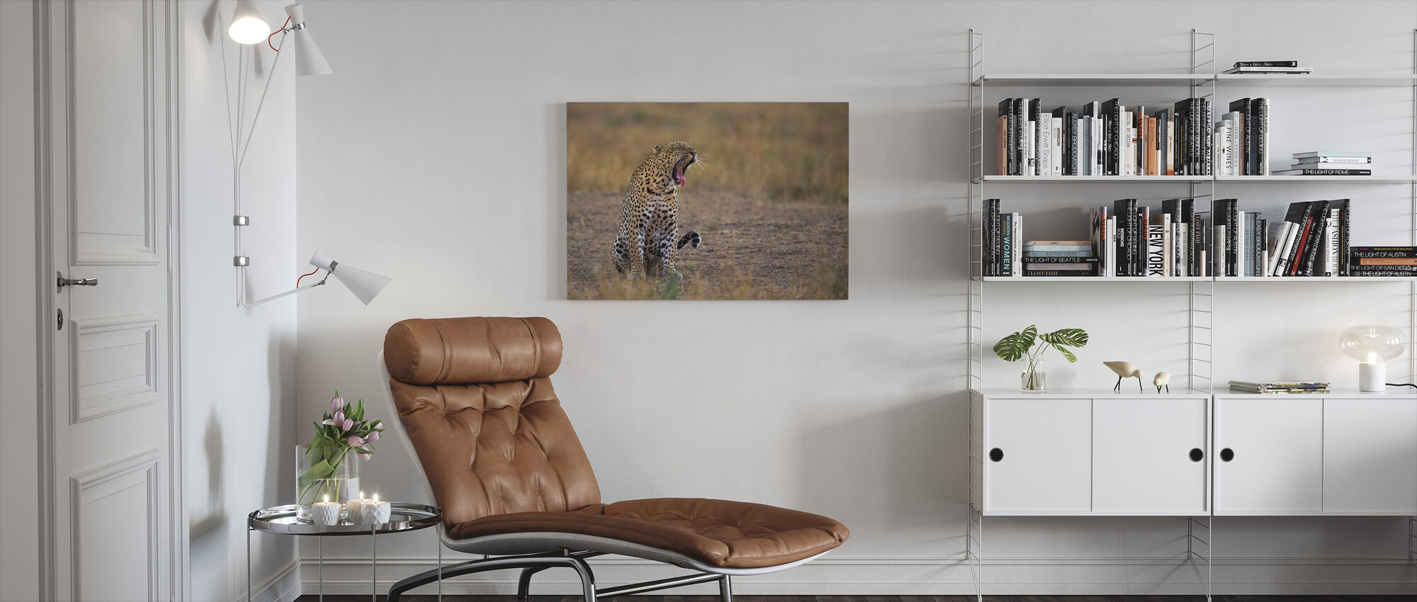 Yawning Leopard - Canvas print - Living Room