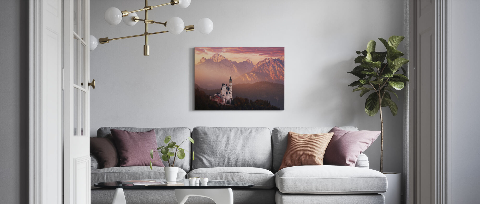 Red Morning Above the Castle - Canvas print - Living Room