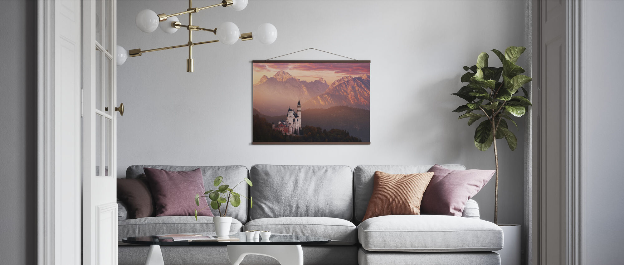Red Morning Above the Castle - Poster - Living Room