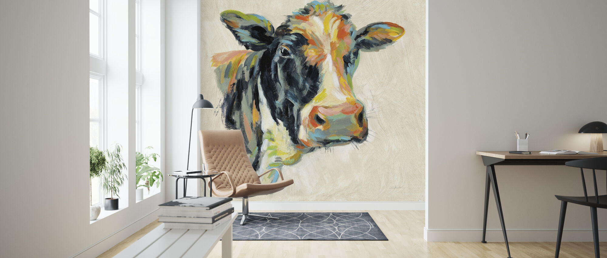 Expressionistic Cow I - Wallpaper - Living Room