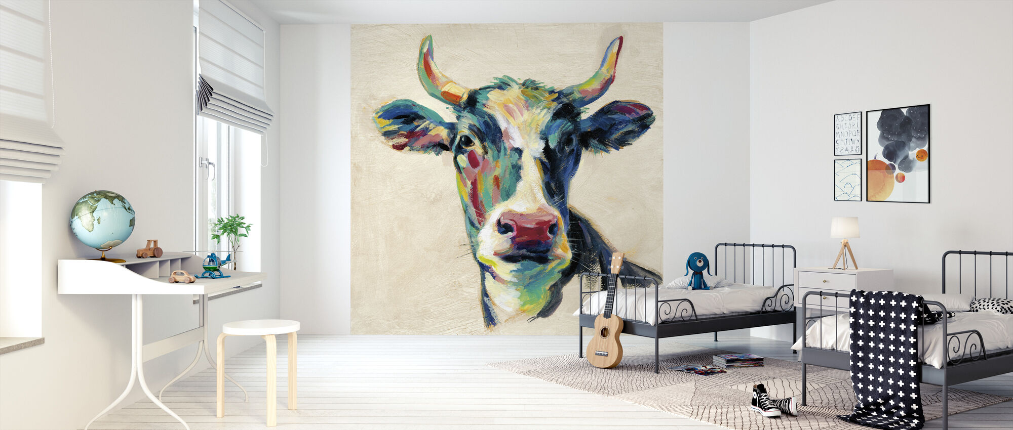 Expressionistic Cow II - Wallpaper - Kids Room