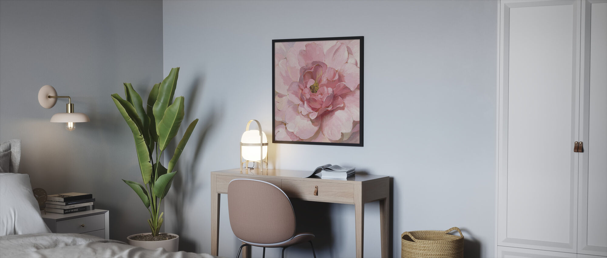Blushing Peony - Framed print - Bedroom