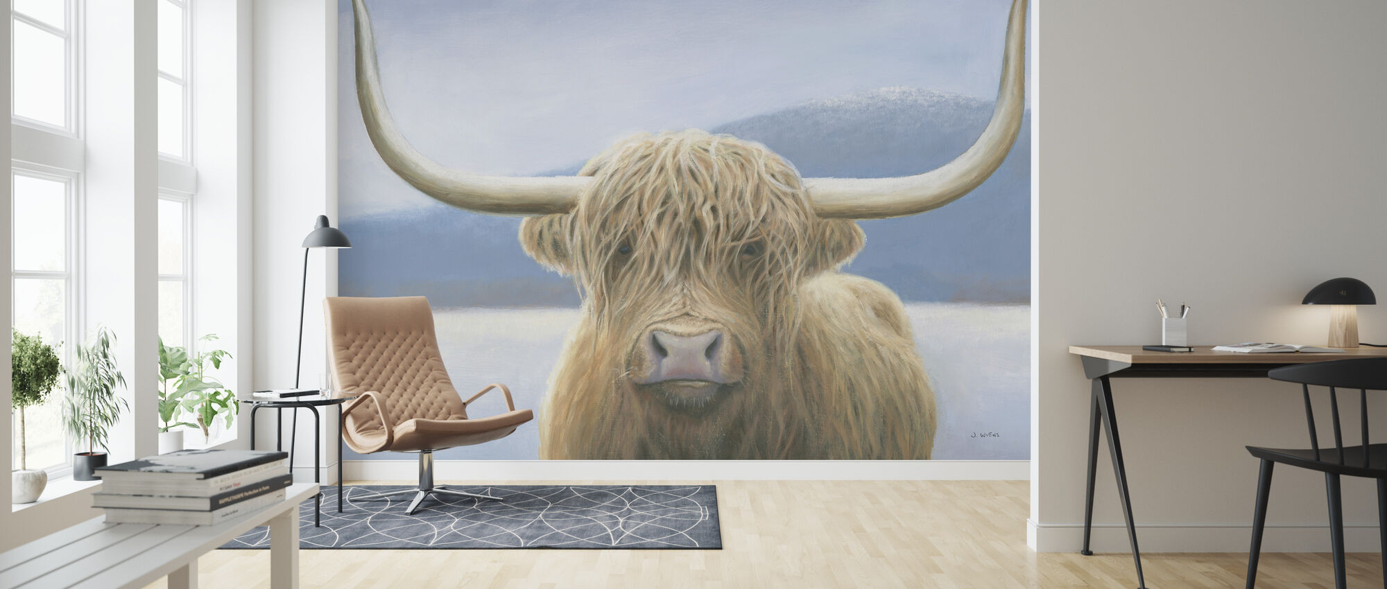 Highland Cow - Wallpaper - Living Room