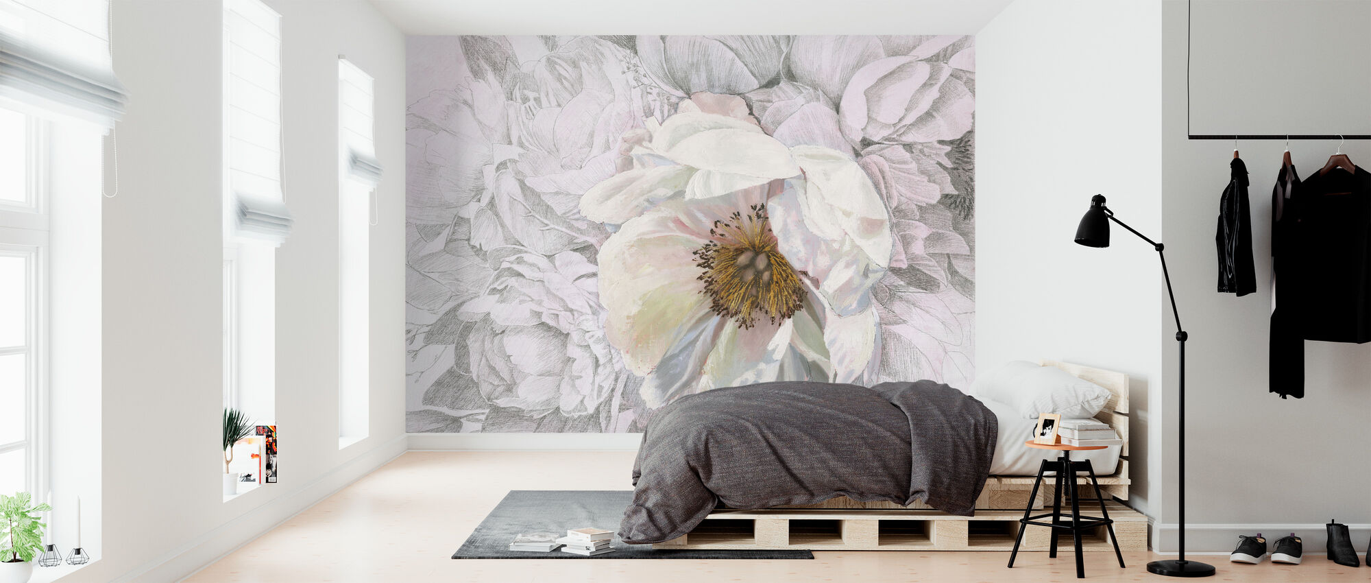 Blooming Sketch - Wallpaper - Bedroom
