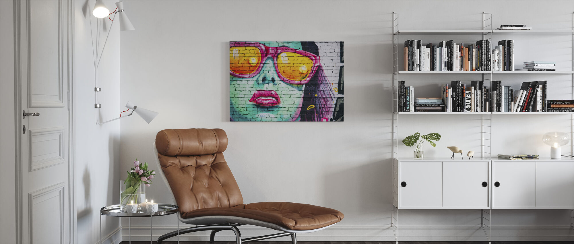 Mural of Woman's Face - Canvas print - Living Room