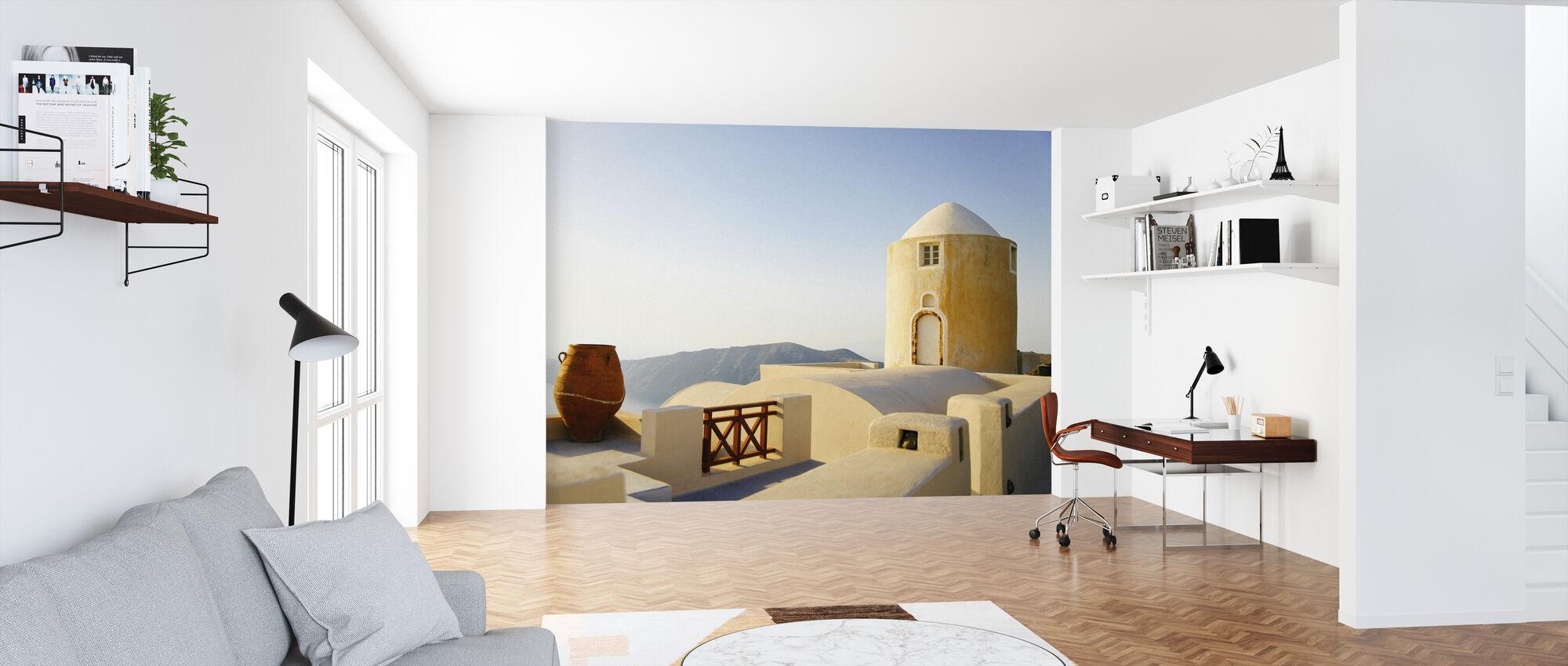 Santorini Building - Wallpaper - Office