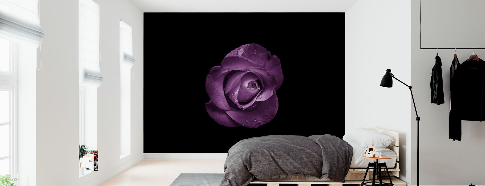 Bloem met Waterdruppels - Behang - Slaapkamer