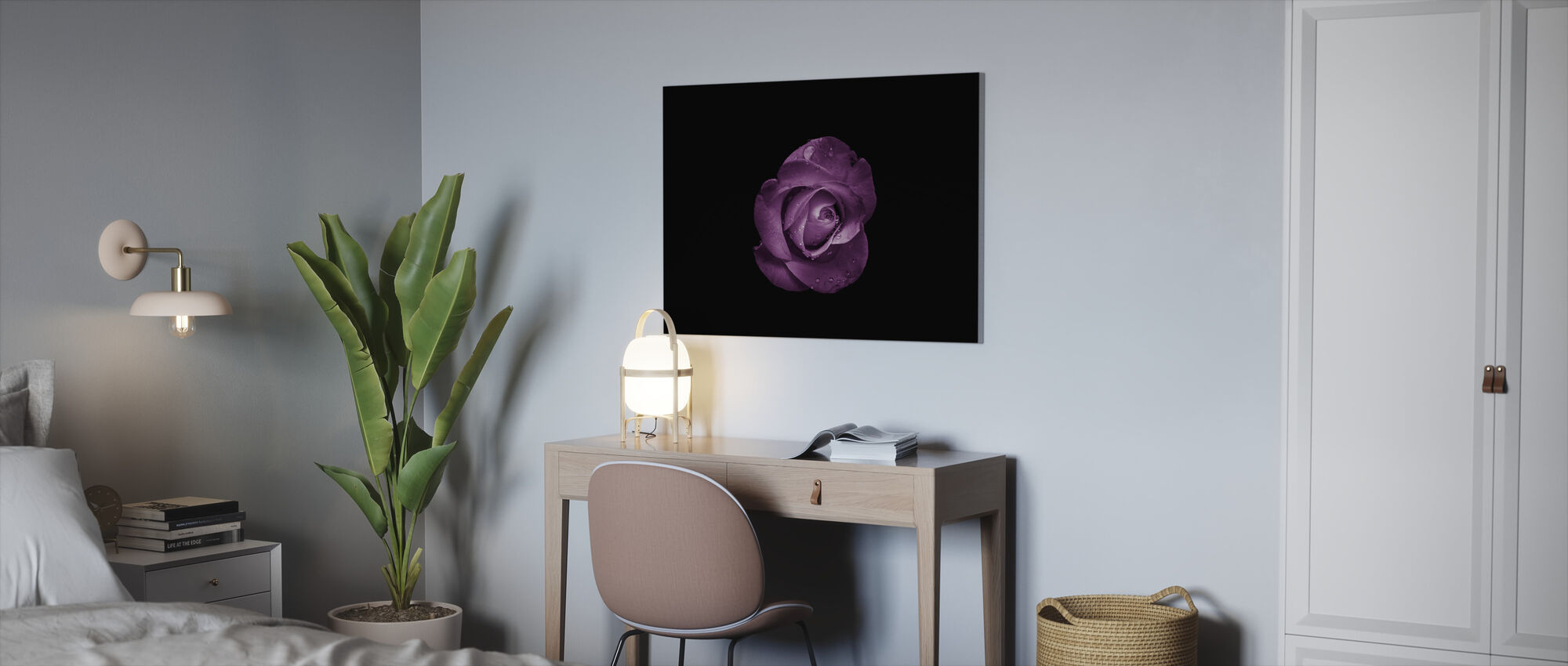 Flower with Water Drops - Canvas print - Office