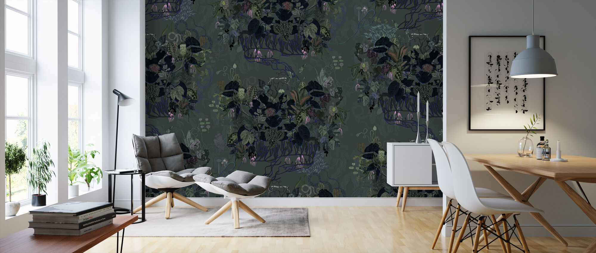 Dark Leaves II - Wallpaper - Living Room