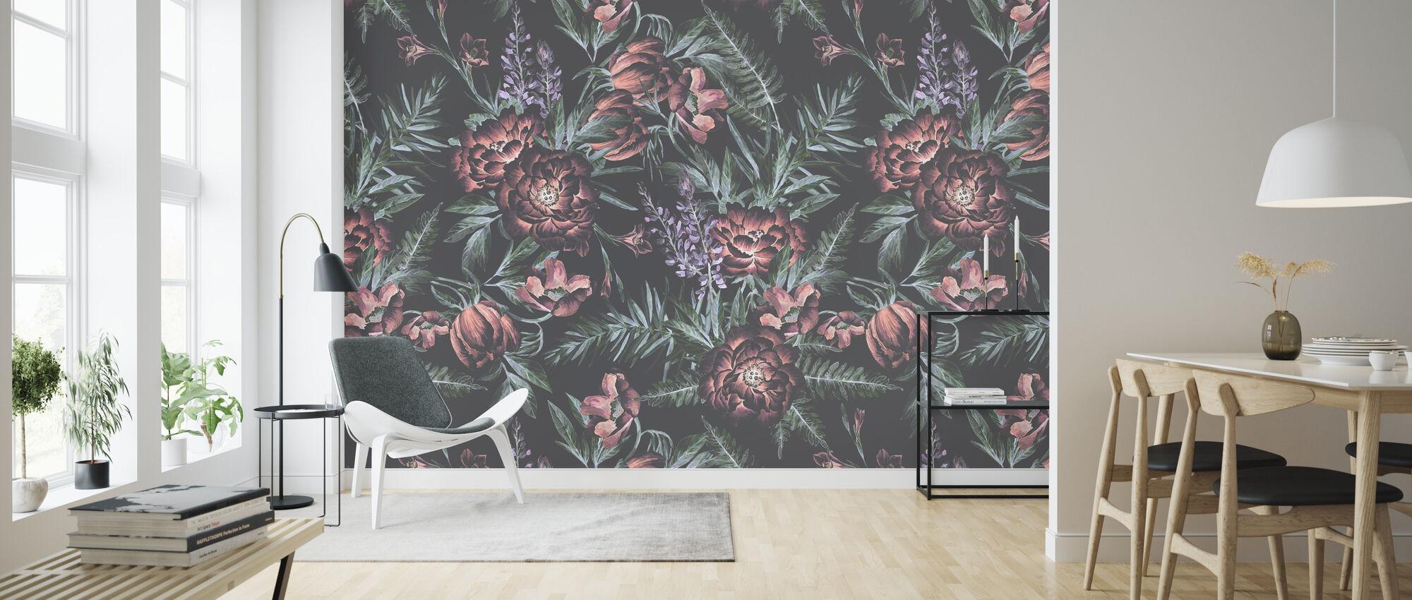 Blush Blomster Mørk - Tapet - Stue