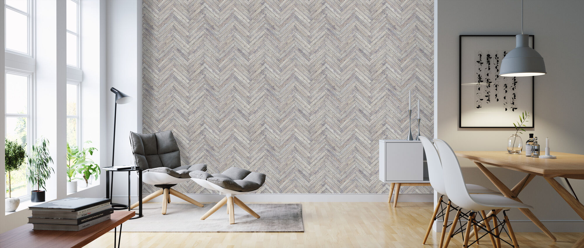 Chevron Wood - Wallpaper - Living Room
