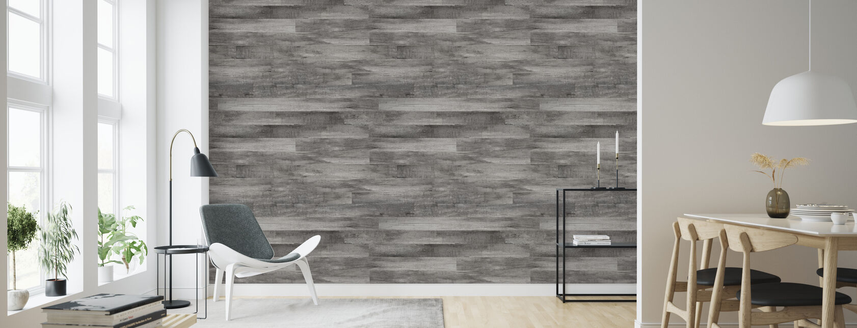 Gray Rustic Wood - Wallpaper - Living Room