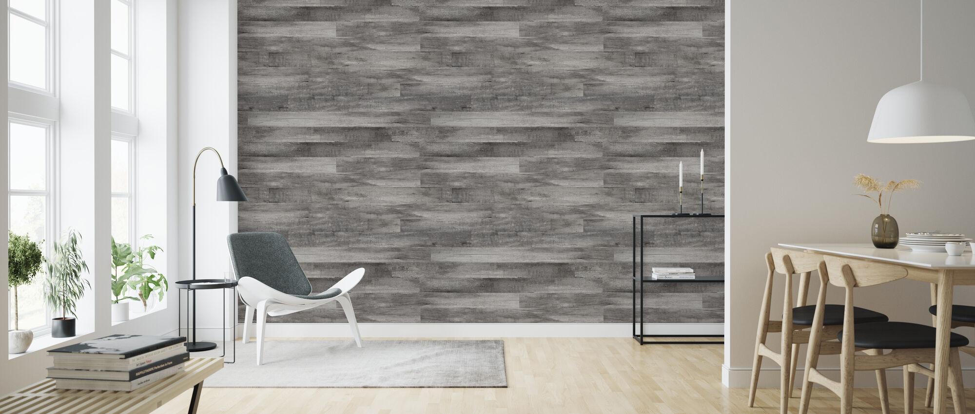 Gray Rustic Wood - Wallpaper - Living Room