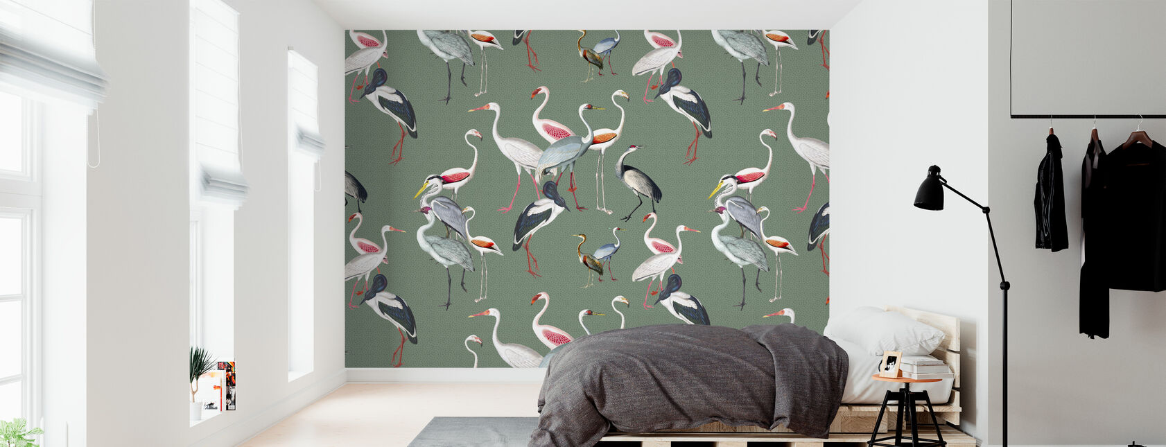 Long Necked Birds Harmony Green - Wallpaper - Bedroom