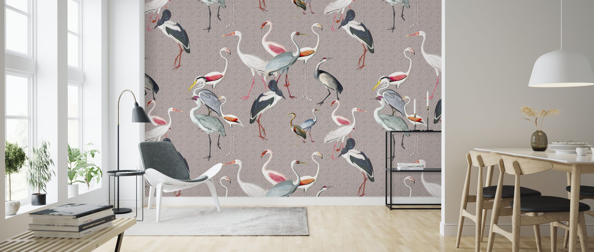 Long Necked Birds Harmony - Wallpaper - Living Room