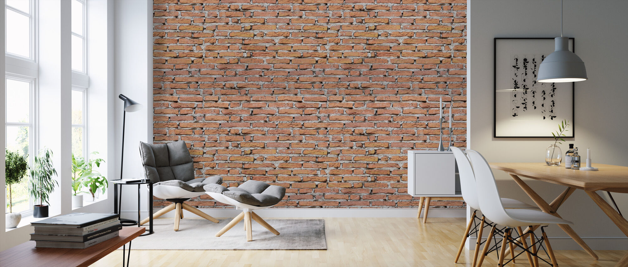 Brick Wall with Strong Joints - Wallpaper - Living Room