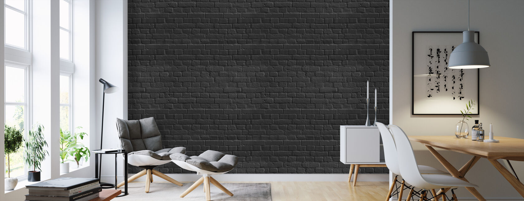 Black Colored Brick Wall - Wallpaper - Living Room