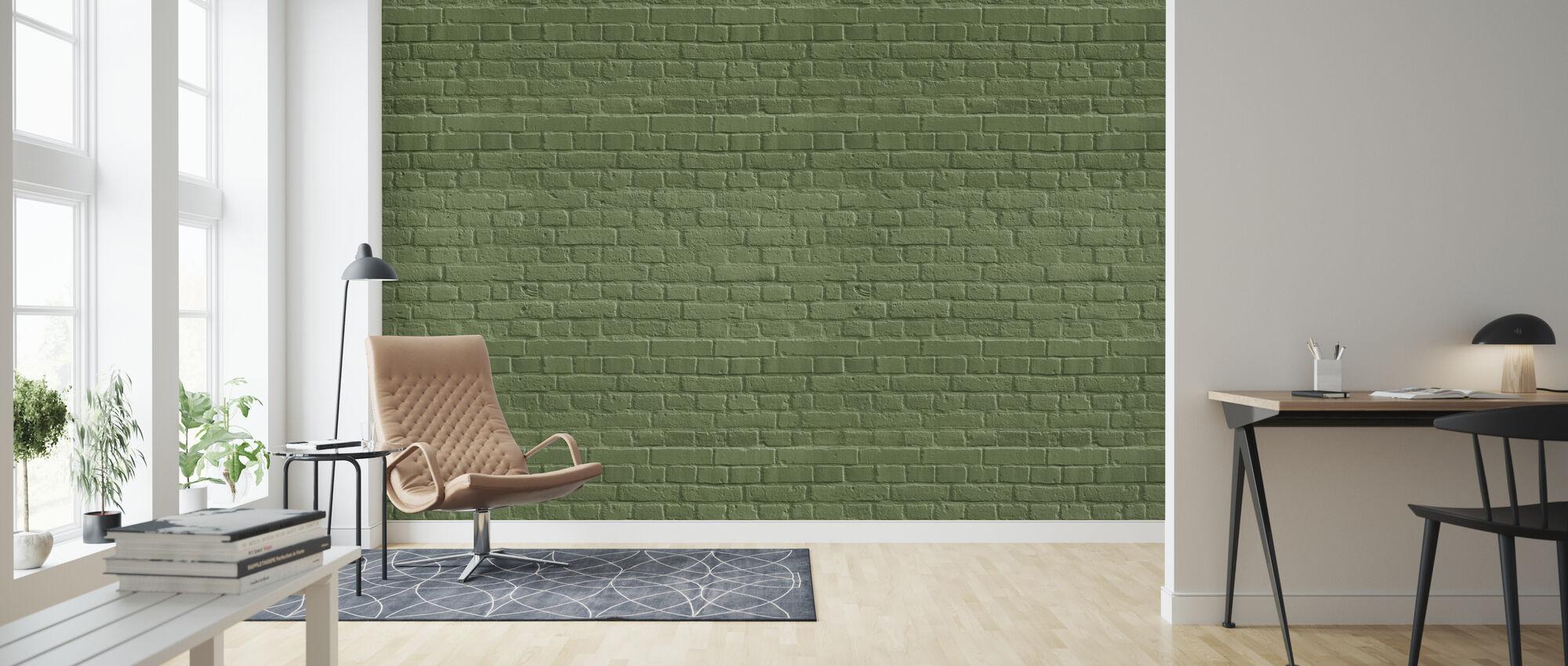 Green Colored Brick Wall - Wallpaper - Living Room