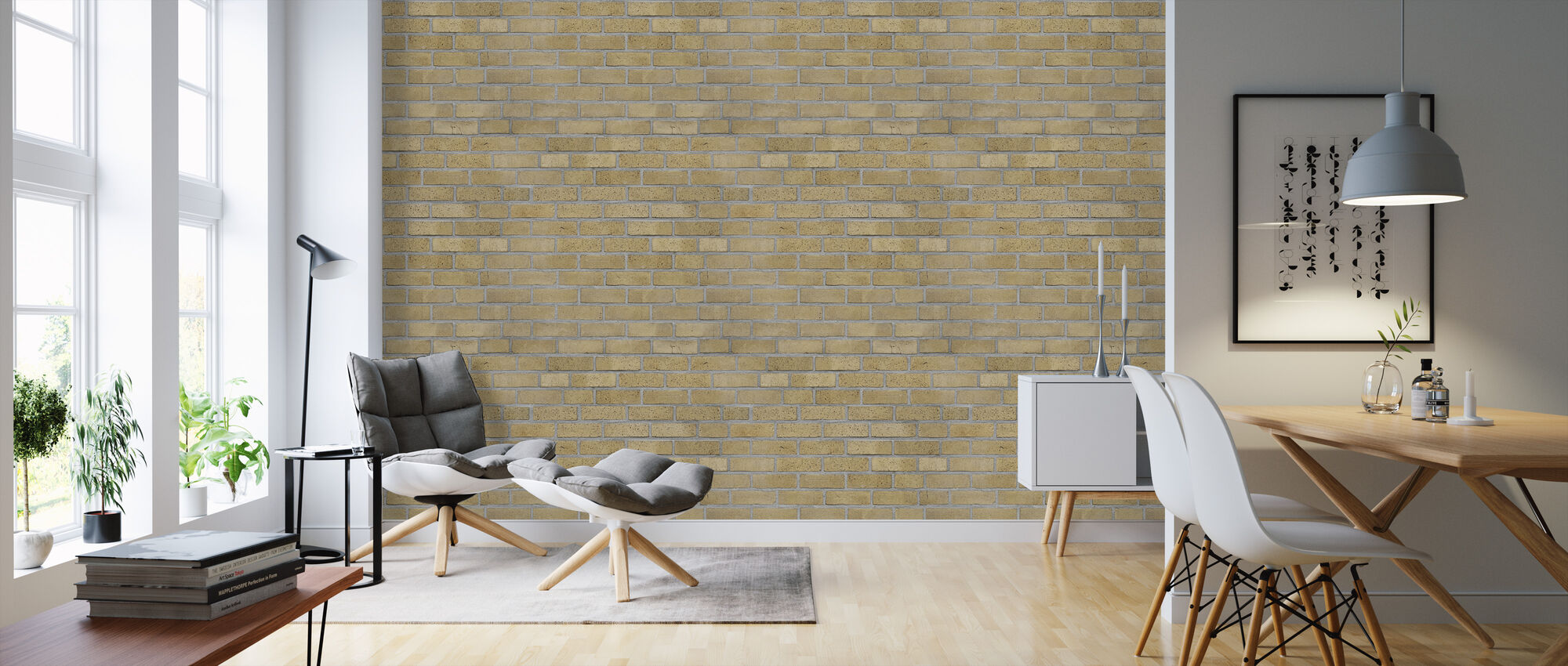 Light Yellow Brick Wall - Wallpaper - Living Room