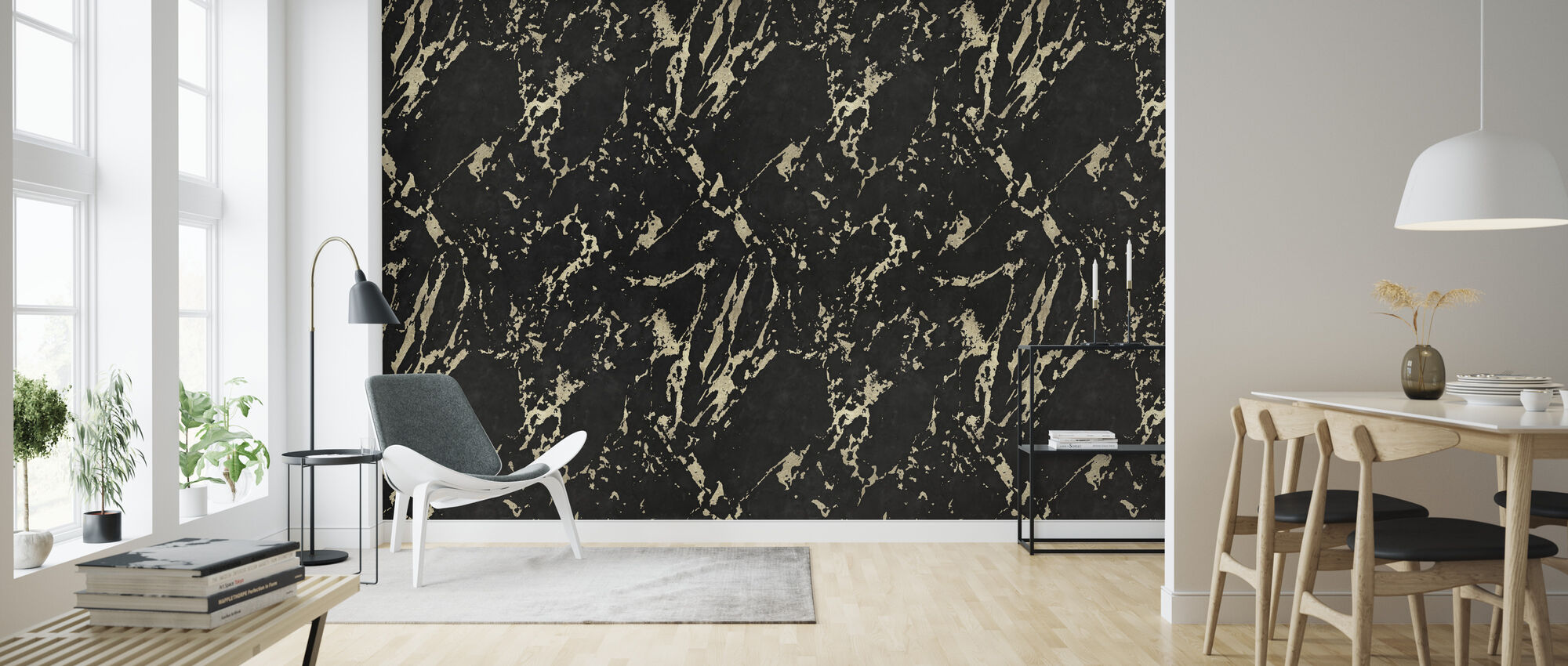 Marble Black Marquina - Wallpaper - Living Room