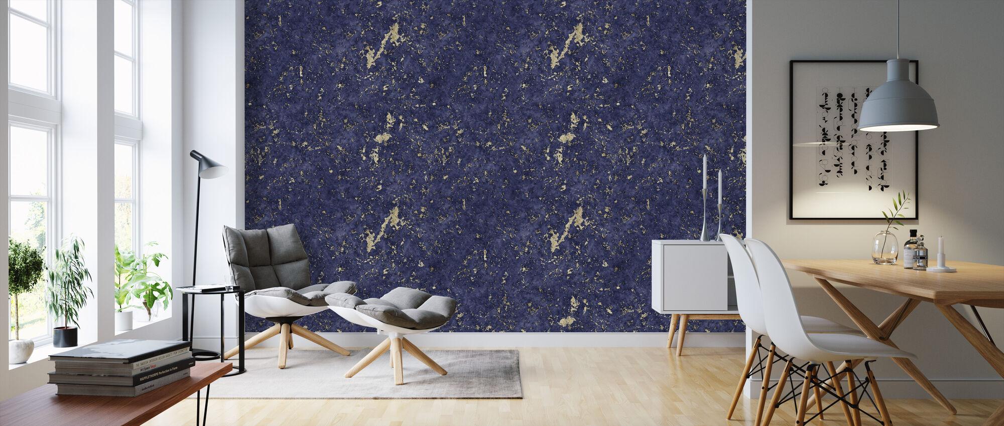 Marble Blue Damasco Gold - Wallpaper - Living Room