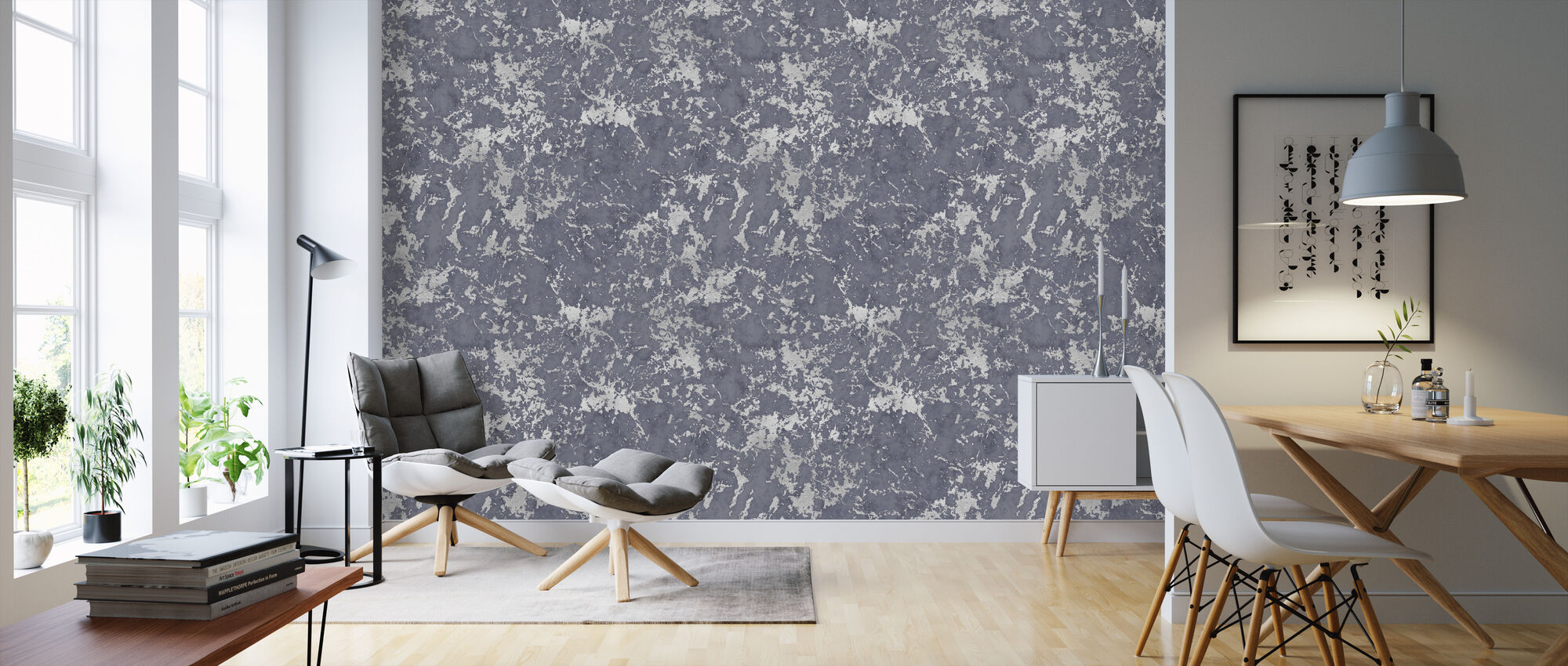 Marble Light Blue Damasco - Wallpaper - Living Room