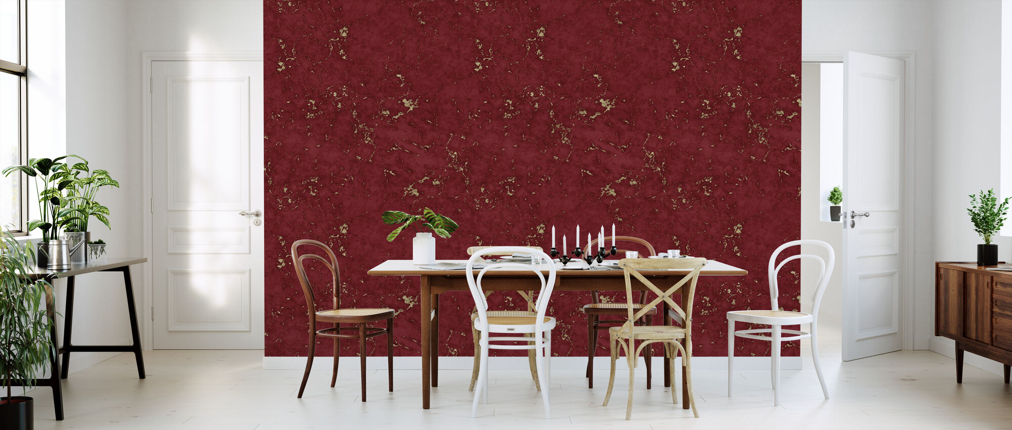 Marble Red Damasco Gold - Wallpaper - Kitchen