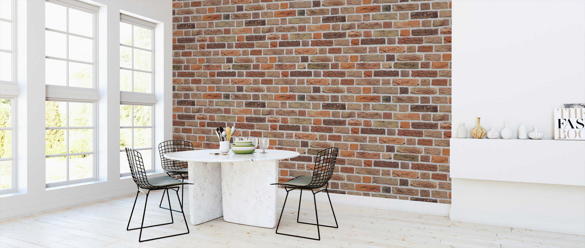 Orange Tone Brick Wall - Wallpaper - Kitchen